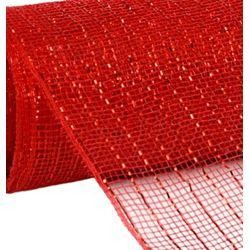 10in Wide x 30ft Long Poly Mesh Roll: Metallic Red
