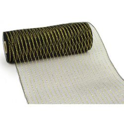 10in Wide x 30ft Long Poly Mesh Roll: Metallic Black with Gold Foil