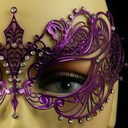 Venetian Metal Purple Laser-Cut Masquerade Mask with Rhinestones