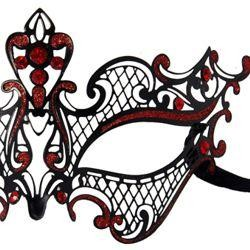 Venetian Laser-Cut Black Metal Masquerade Mask with Red Rhinestones And Glitter Scrollwork