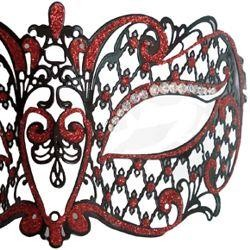 Venetian Metal Laser-Cut Black and Red Masquerade Mask with Red Rhinestones
