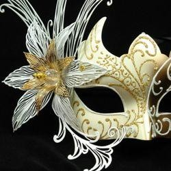 White and Gold Venetian Masquerade Mask with White Metal Laser Cut