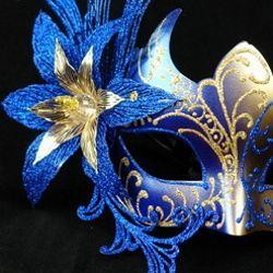Blue and Gold Venetian Masquerade Mask with Blue Metal Laser Cut