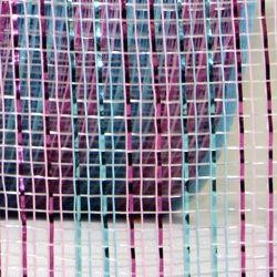 2.5in Wide x 75ft Long Thin Metallic Stripe Mesh Roll Baby Pink/ Baby Blue