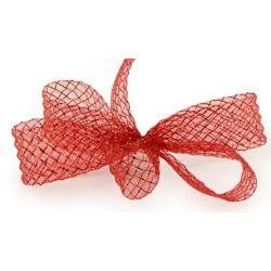 1.5in x 90ft Deco Flex Mesh Ribbon: Red w/ Red Foil