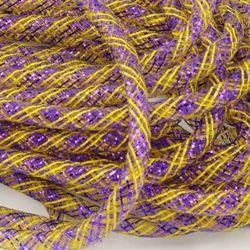 8mm x 30Yd Decor Metallic Mesh Tubing Striped Purple/ Gold
