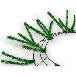 Tinsel Work Wreath Form: Metallic Emerald Green