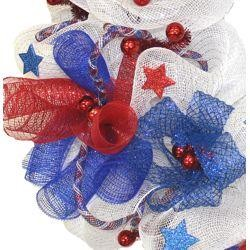 Patriotic Deco Mesh Round Wreath