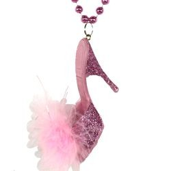 Pink High Heel Fur Shoe Beads