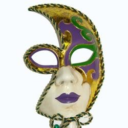 Mardi Gras Venetian Half Face Masquerade Mask on a Stick