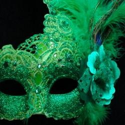 Green Venetian Macrame Masquerade Mask With Rhinestones And With Feathers On The Side