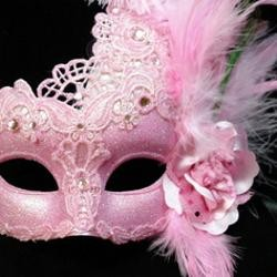 Pink Macrame Venetian Masquerade Mask With Rhinestones And With Feathers On The Side