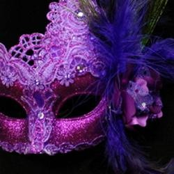 Venetian Macrame Purple Masquerade Mask With Rhinestones And With Feathers On The Side