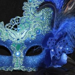 Venetian Macrame Blue Masquerade Mask With Rhinestones And With Feathers On The Side