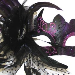 Black Venetian Masquerade Masks With Purple Accents And Feather