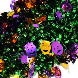 Comedy and Tragedy Faces Tinsel Mardi Gras Wreath