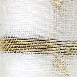 21in x 30ft White Mesh Ribbon w/ Metallic Gold Bands