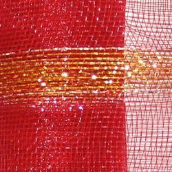 21in x 30ft Red Mesh Ribbon w/ Metallic Gold Bands