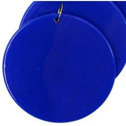 2.5in Blank Blue Hard Plastic Disc/Medallions w/ Metal Ring