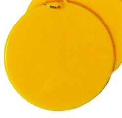 2.5in Blank Yellow Hard Plastic Disc/Medallions w/ Metal Ring