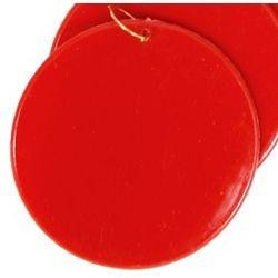 2.5in Blank Red Hard Plastic Disc/Medallions w/ Metal Ring