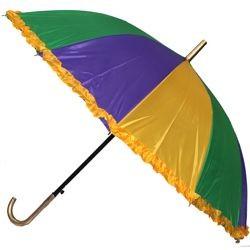 21in Long Nylon Mardi Gras Umbrella w/ Frilly Edge