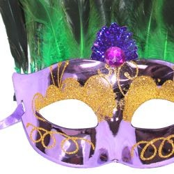 Mardi Gras Plastic Venetian Masquerade Mask with Feathers