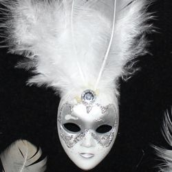 4in Tall x 1 1/4in Wide White/ Silver Plastic Doll Face Pin w/White Feathers