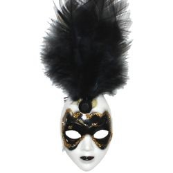 White and Black Plastic Doll Face Pin with Black Feathers