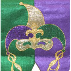 72in Long x 13in Wide Mardi Gras Table Runner with Jester Design