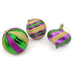 130mm Assorted Purple/ Green/ Gold Large Ball Decoration/ Ornament Set