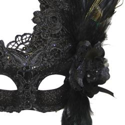 Venetian Macrame Black Masquerade Mask With Rhinestones And With Feathers On The Side