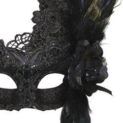 venetian macrame black masquerade mask with rhinestones and feathers
