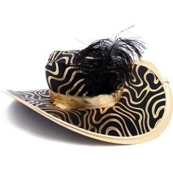 18in Wide Black And Gold Pimp Hat w/ Black Feather On The Side