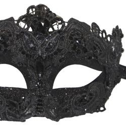 Black Venetian Macrame Masquerade Mask with Glitter Accents and with Rhinestones