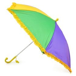 18in long Nylon Mardi Gras Umbrella w/ Frilly Edge