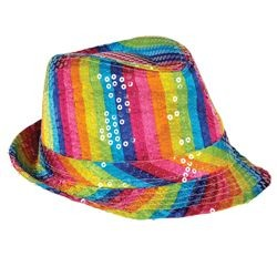 9in Wide x 5in Tall Rainbow Sequin Fedora Hat