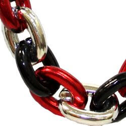Large Metallic Red, Black, and Silver Chain Link Necklace