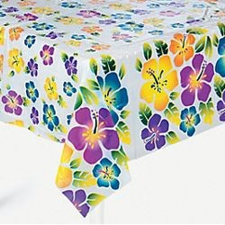 54in x 72in Plastic Hibiscus/ Luau/ Hawaiian Tablecloth