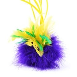 8in Tall x 5in Wide Fancy Feather Clip Mardi Gras Colors