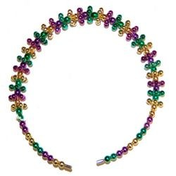 6in Tall x 1/2in Wide Purple/ Green/ Gold Metallic Beaded Headband