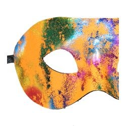 Paint Splatter Half Masquerade Mask Orange