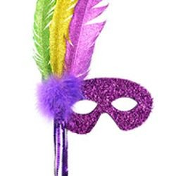 Mardi Gras Tinsel Tie Masquerade Masks on a Stick with Feathers