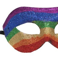 Glitter Half Masquerade Mask Rainbow Colors