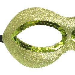 Fancy Lime Green Glitter Half Plastic Masquerade Mask with Sequins Around The Eyes