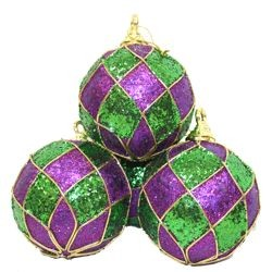 100mm Glittered Mardi Gras Balls