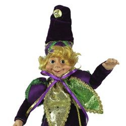 9in Tall x 5in Wide Mardi Gras Doll/Elf