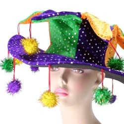5in Tall Mardi Gras Brimmed Sequin Jester Hat w/ Pom Poms