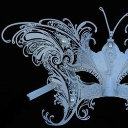 White Butterfly Venetian Masquerade Mask with Metal Laser Cut And Crystals on Eyes