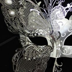 Silver Venetian Masquerade Mask with Silver Metal Laser Cut and Crystals